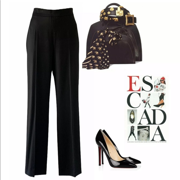 Escada Pants - ESCADA BLACK STRAIGHT STRETCH WOOL PANTS $750